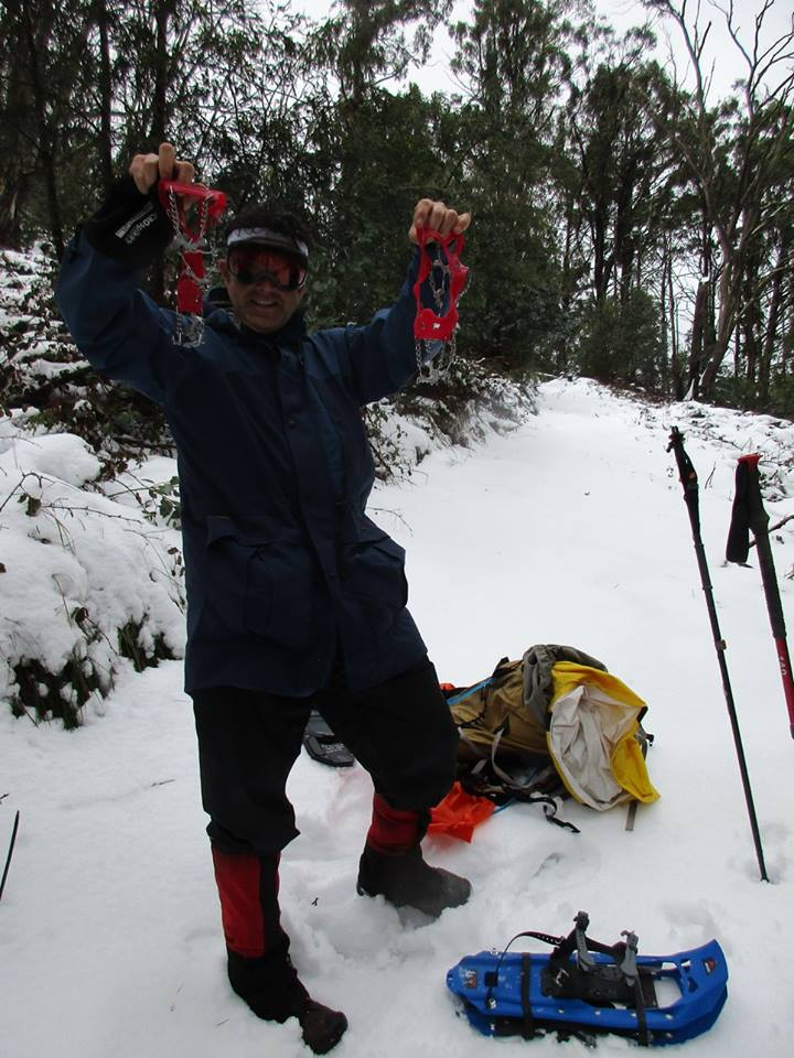 Flexible crampons  and  snow shoes at  Mt  Torbreck  27.7.16.jpg