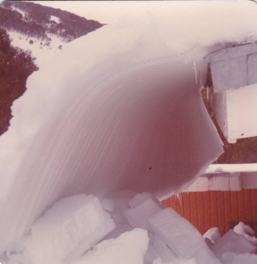 Ice sliding from roof Diana Lodge 1970-ish.jpg