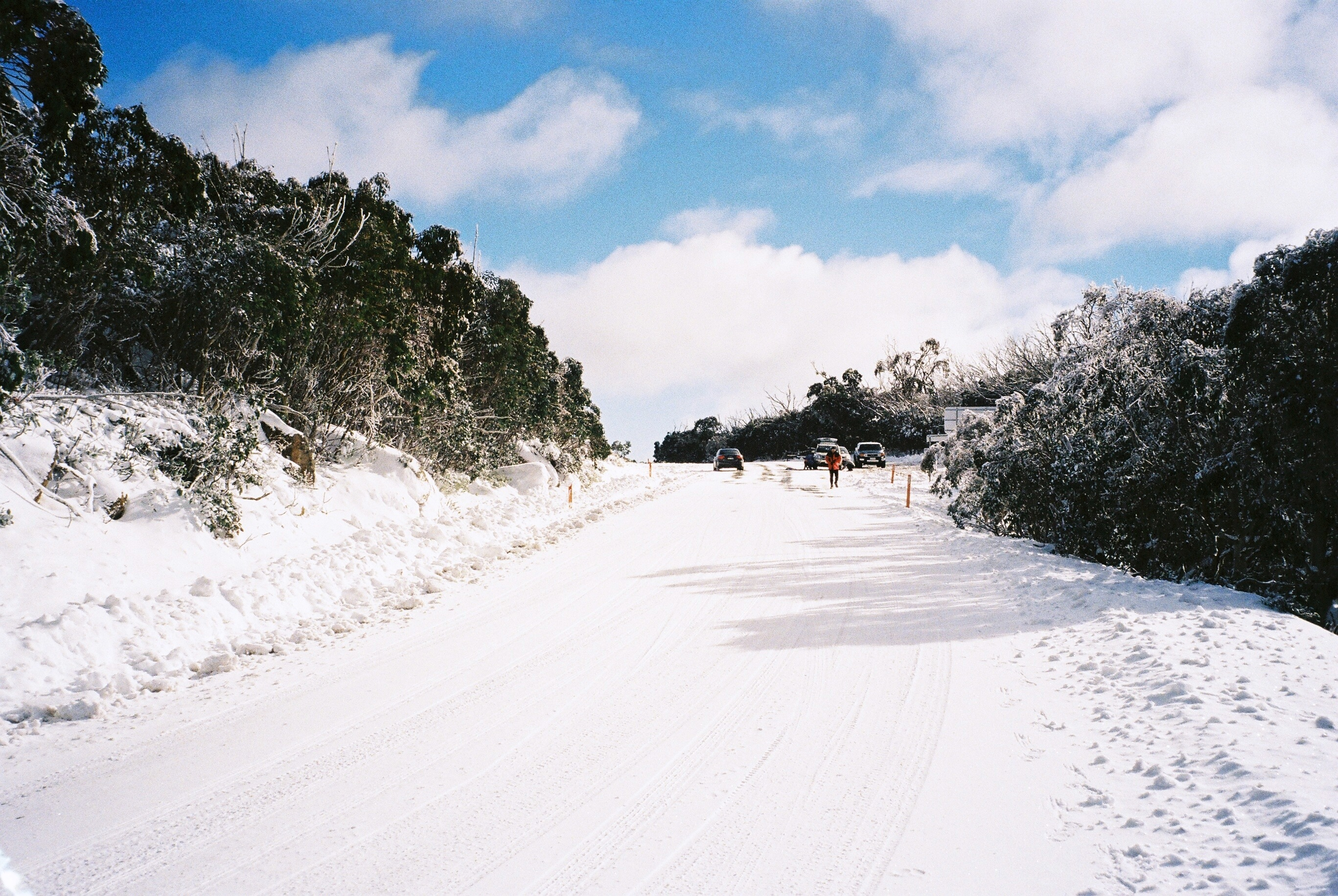 sunshine and snow on the Cathedral saddle road. Mt  Buffalo .25.6.16.jpg